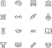 Icon Set, Education things on white background, made in adobe Illustrator (vector)