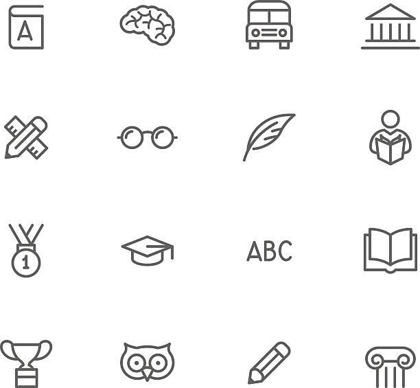 icon-set, bildung - buchstabenschreibweise stock-grafiken, -clipart, -cartoons und -symbole