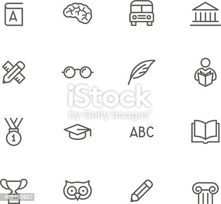 Black And White Education Icon Set Stock Vector Art & More
