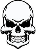Black and white eerie human skull