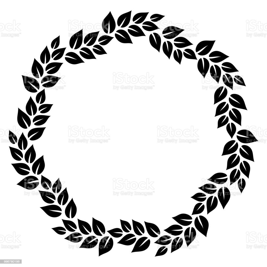 Black And White Elegant Leaves Floral Wreath Round Frame Vector ...