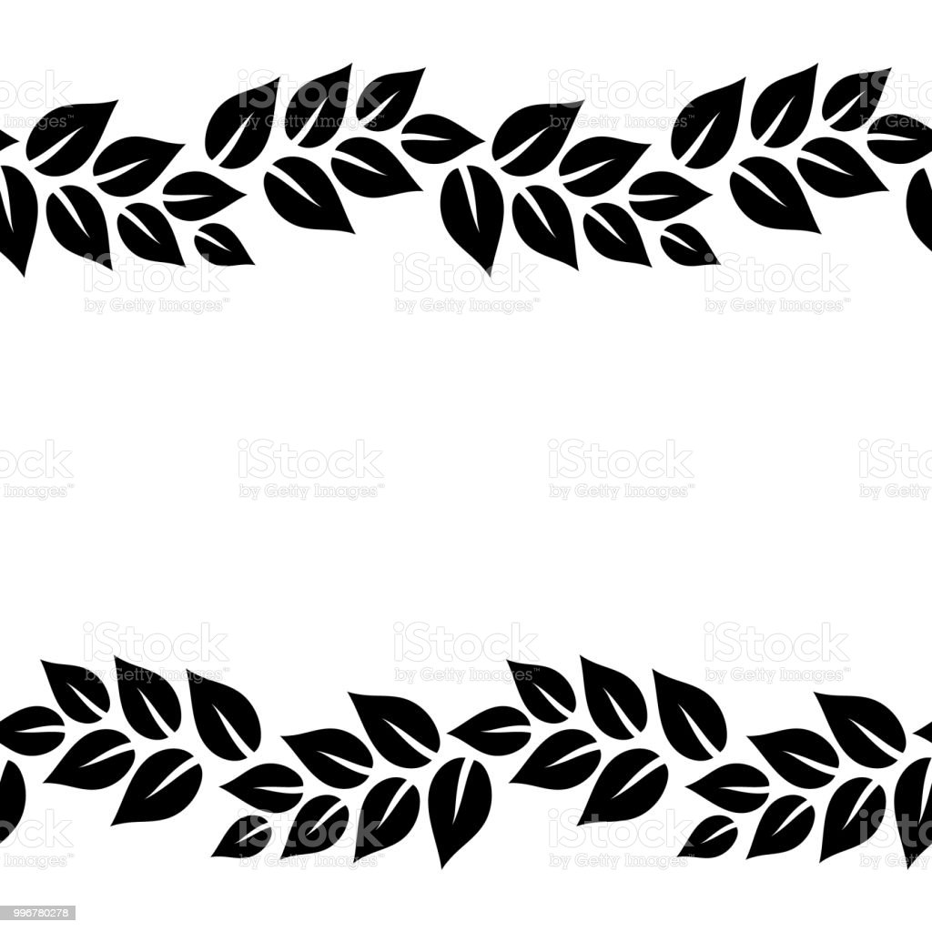 Black And White Elegant Leaves Seamless Border Frame Vector Stock