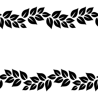 Black And White Elegant Leaves Seamless Border Frame ...