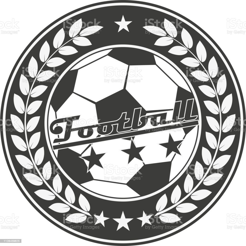 0718f832 Black and white emblem of a football club. A laurel wreath and text with  stars. - Illustration .