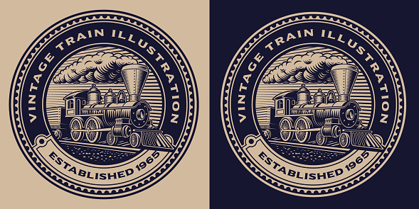 A black and white round emblem with a vintage train. This design can also be used as a shirt print or as a logotype