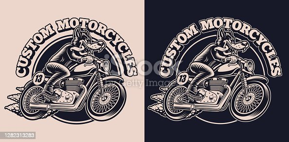 istock A black and white emblem with a wolf on a motorcycle for a biker theme 1282313283