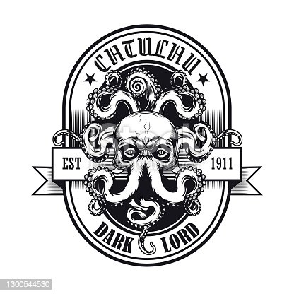 istock Black and white emblem with Cthulhu head 1300544530