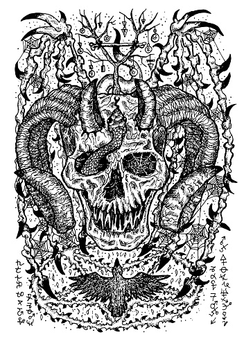 Black and white engraved illustration of scary devil or demon with horns, wings, evil symbols and pentagram.