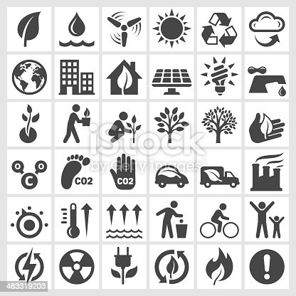 Environmental Conservation black and white icon set