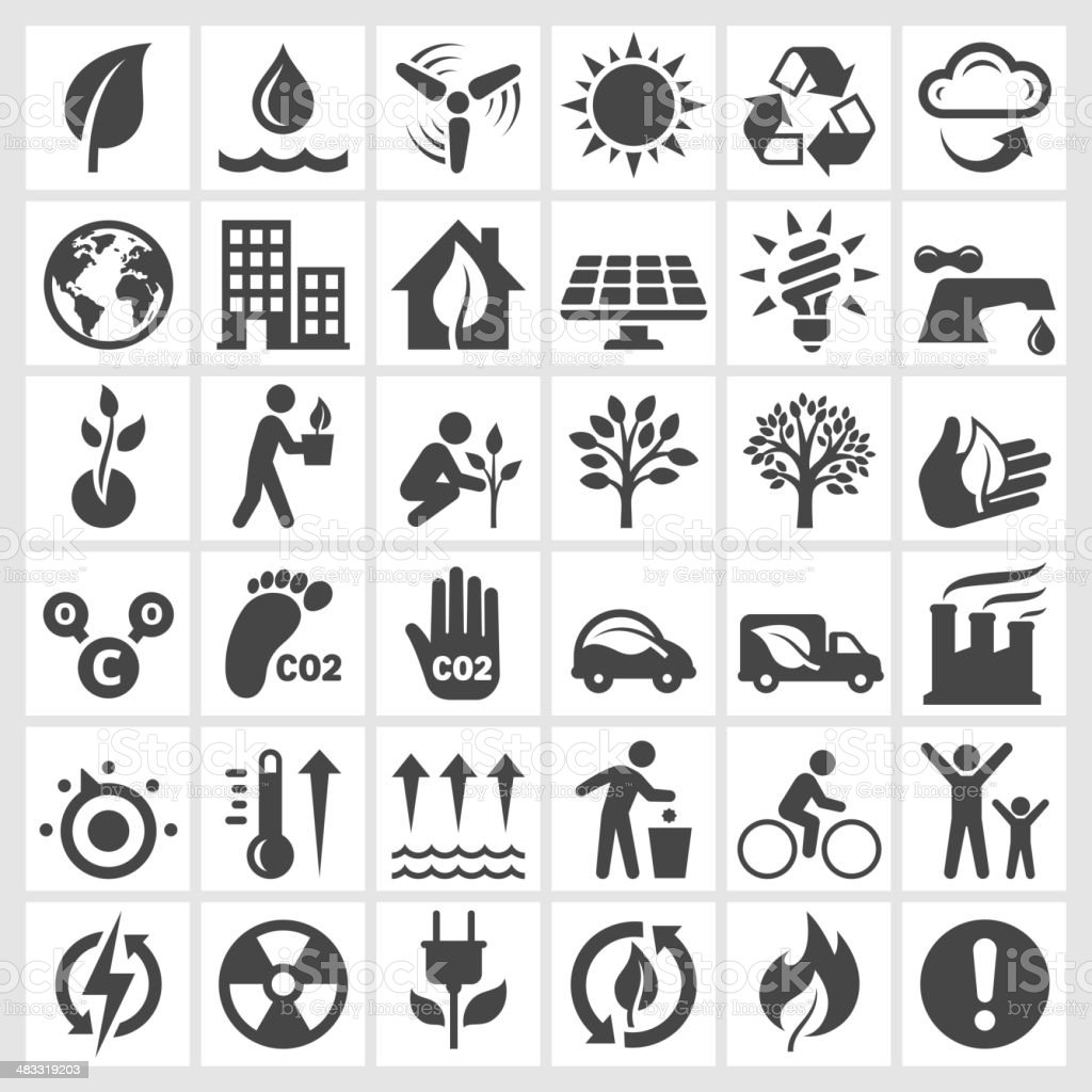Black and white environmental conservation icons vector art illustration