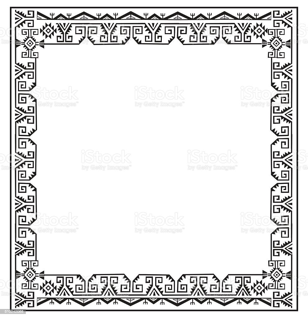 Black And White Ethnic Frames Vector Tribal Vector Frame Stock ...