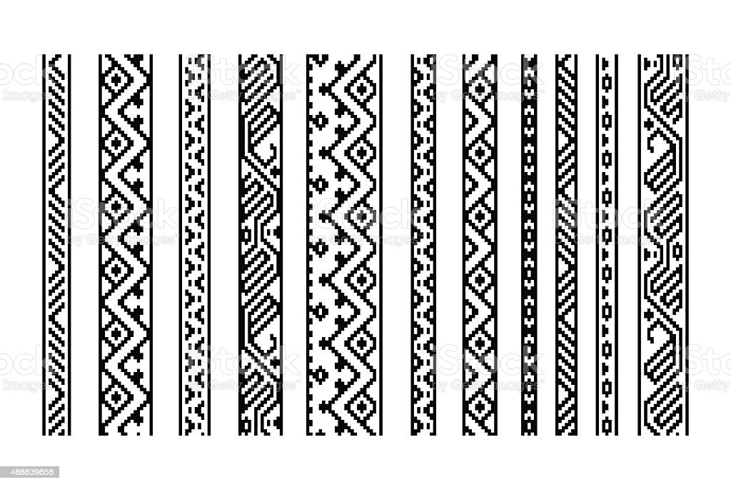 Black and white ethnic geometric aztec seamless borders set, vector vector art illustration