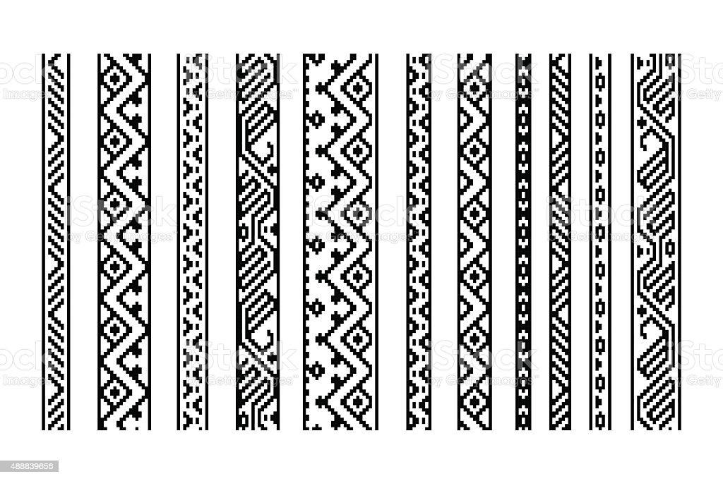 Blanco y negro geométrico sin costuras étnico aztec fronteras conjunto, vector - ilustración de arte vectorial