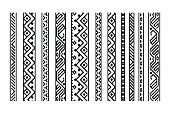 Black and white ethnic geometric aztec seamless borders set, vector