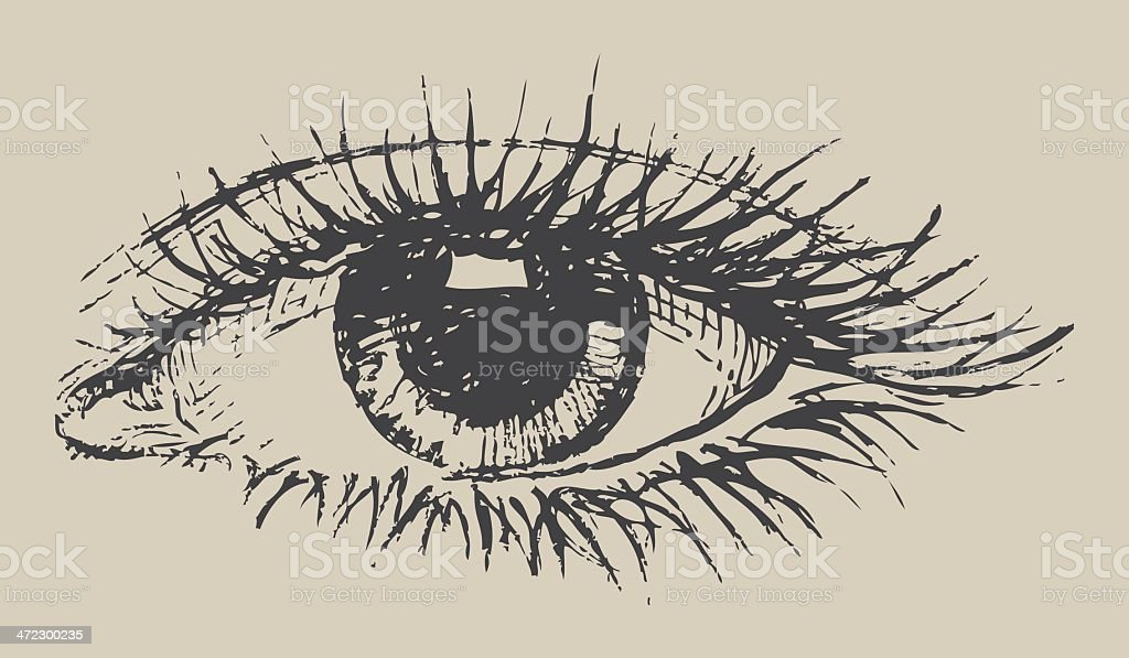 Black and white eye drawing on paper vector art illustration