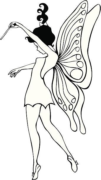 black und white fairy illustrationen - tinkerbell stock-grafiken, -clipart, -cartoons und -symbole