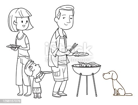 Vector Black And White, Family with kids and dog at a picnic in the park, eating, grilling