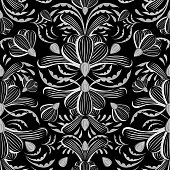 Black and white fantasy flower, floral seamless pattern. Inspired by Jugend type wallpapers. Vector repeat pattern for print or for the web.