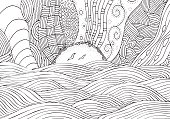 Black and white fantasy picture with sun and sea. Beach landscape. Pattern for adult Coloring book page. Hand-drawn, ethnic, doodle, vector, tribal.