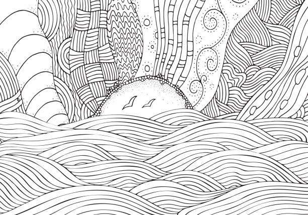 black and white fantasy picture with sun and sea. beach landscape. pattern for adult coloring book. hand-drawn, ethnic, doodle, vector. - black and white mountain stock illustrations, clip art, cartoons, & icons