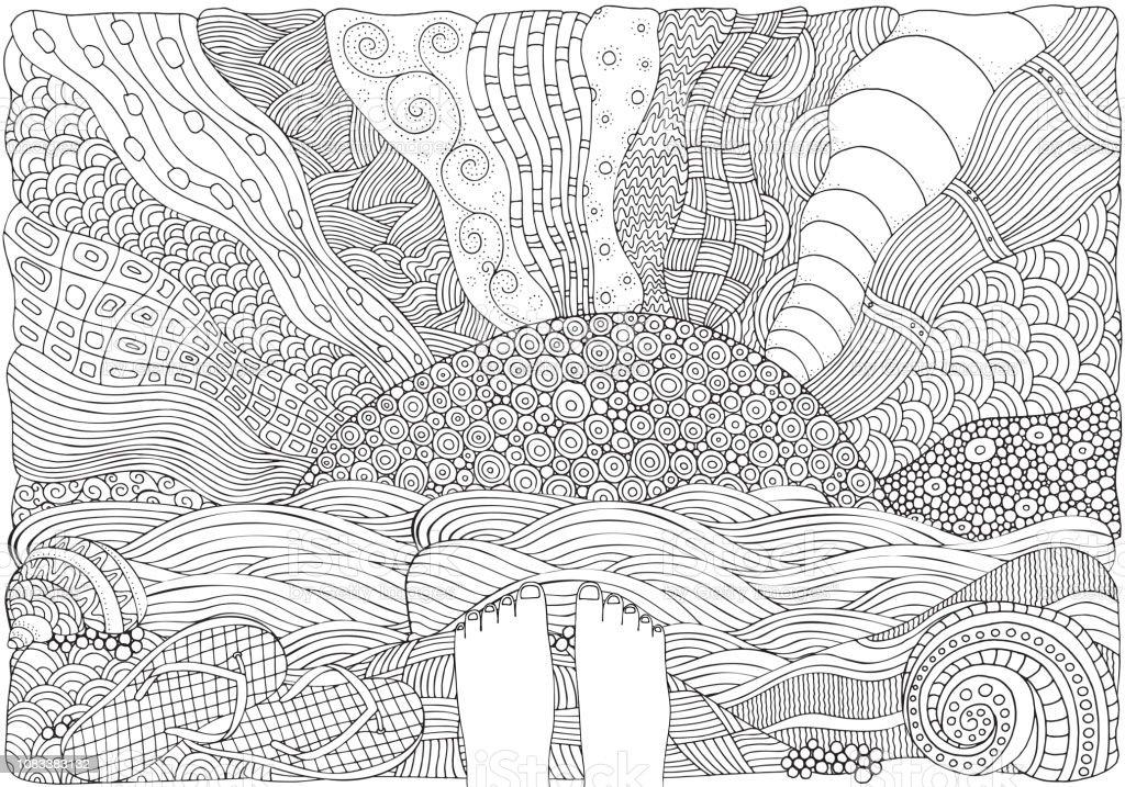 Black And White Fantasy Bild Mit Sonne Und Meer Küste Nackten Füßen
