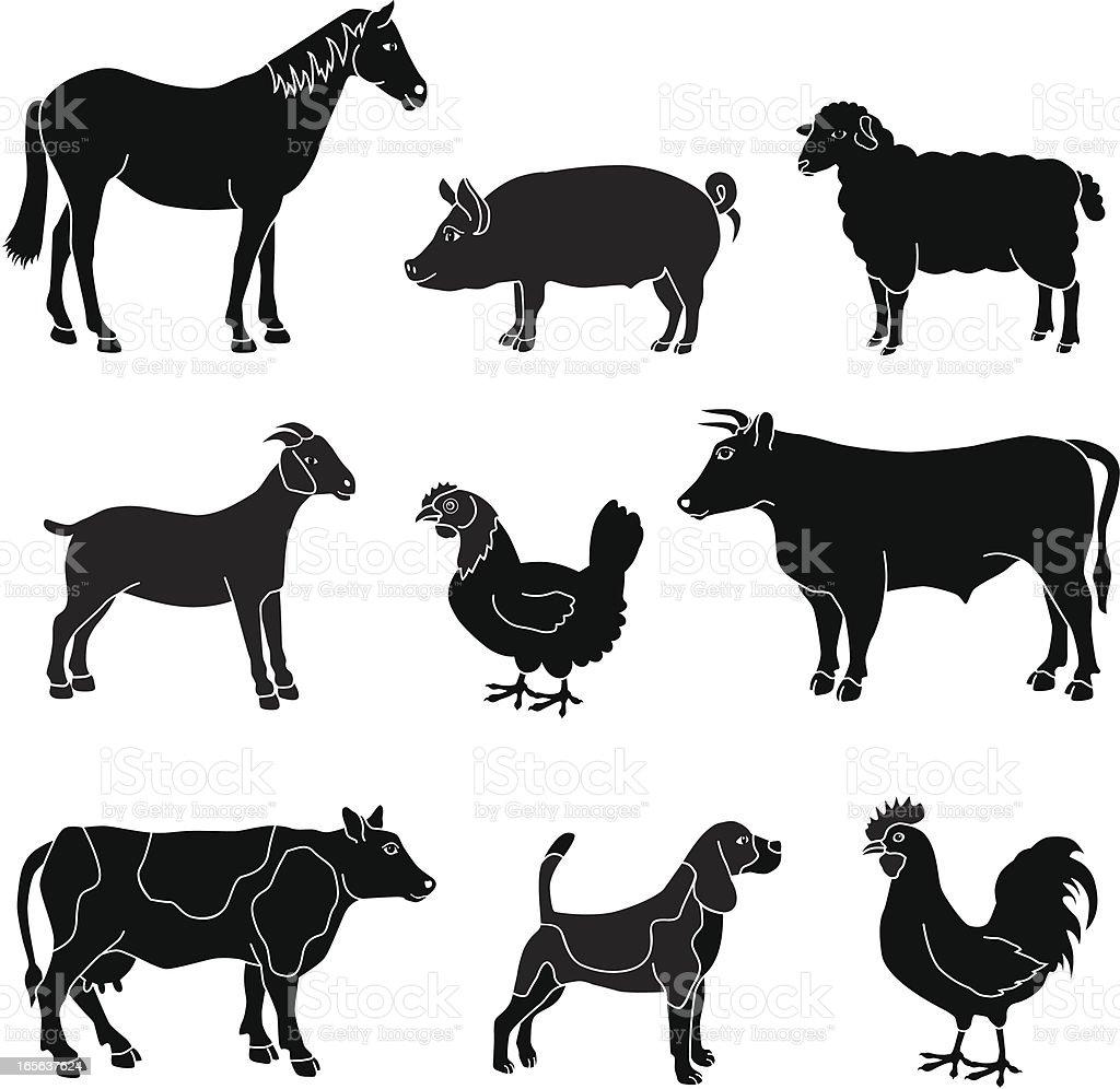 Black And White Farm Animals Stock Illustration - Download ...
