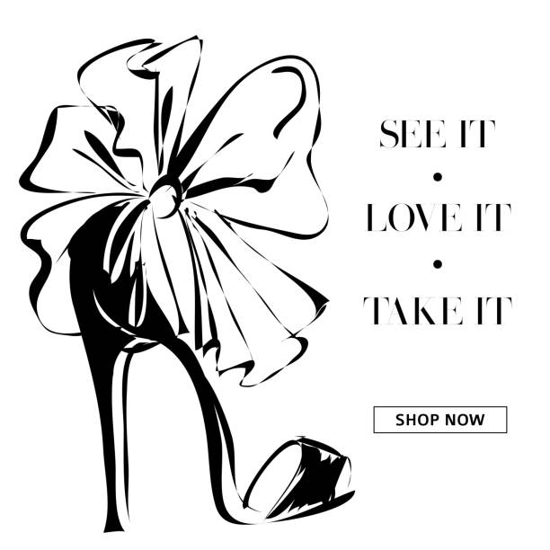 black and white fashion high heels shoes promo banner, online shopping social media ads web template with beautiful heels. vector illustration - shoes fashion stock illustrations, clip art, cartoons, & icons