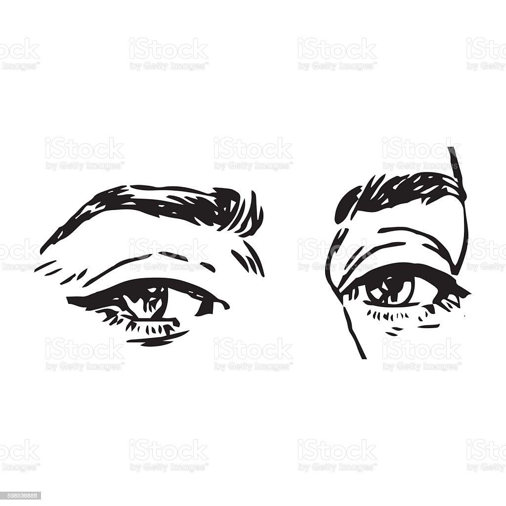 black and white fashion illustration with eye black and white fashion illustration with eye – cliparts vectoriels et plus d'images de admirer le paysage libre de droits
