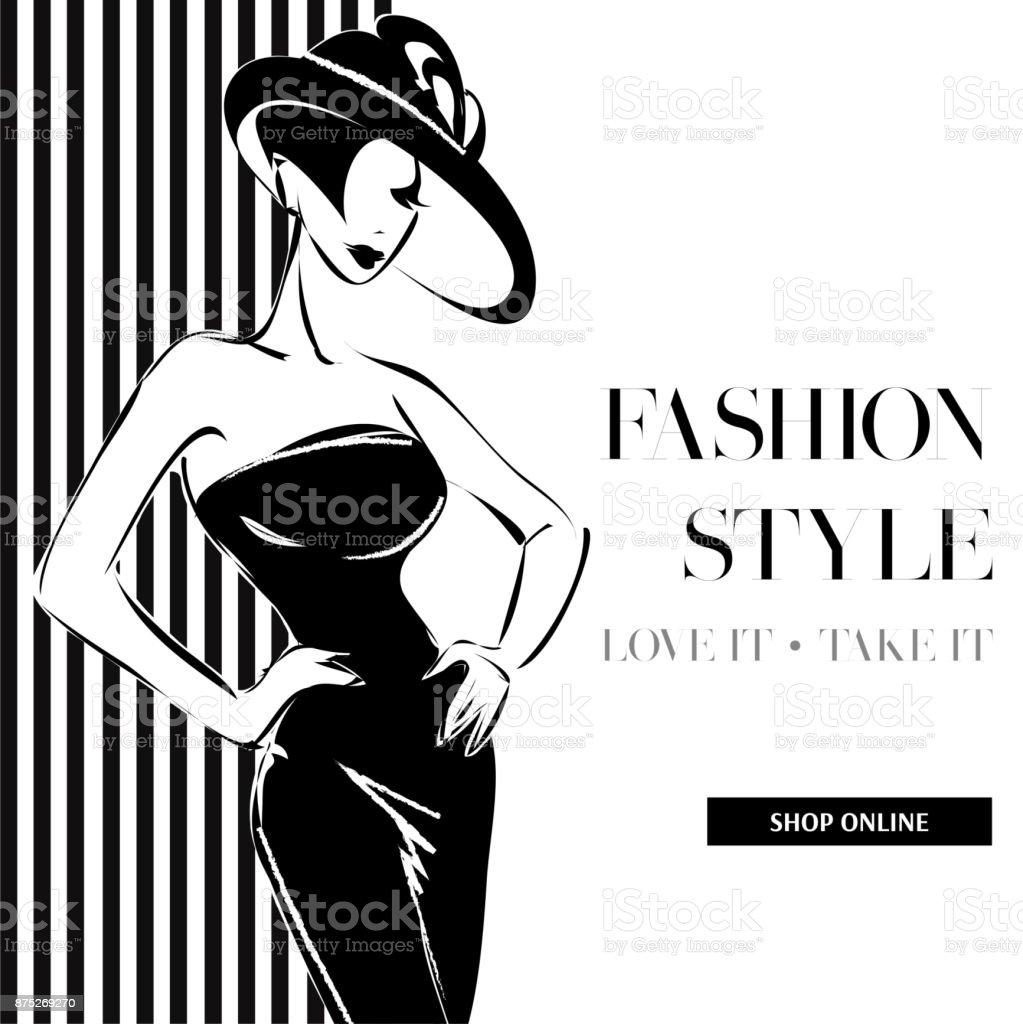 b828ca095f972 Black And White Fashion Sale Banner With Woman Fashion Silhouette ...