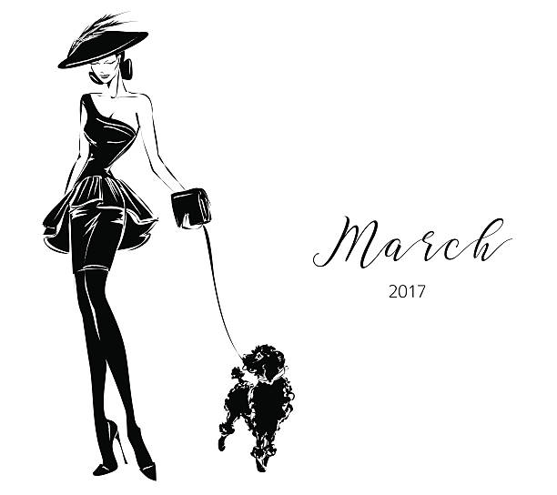 Black and white fashion woman model with boutique logo background ベクターアートイラスト