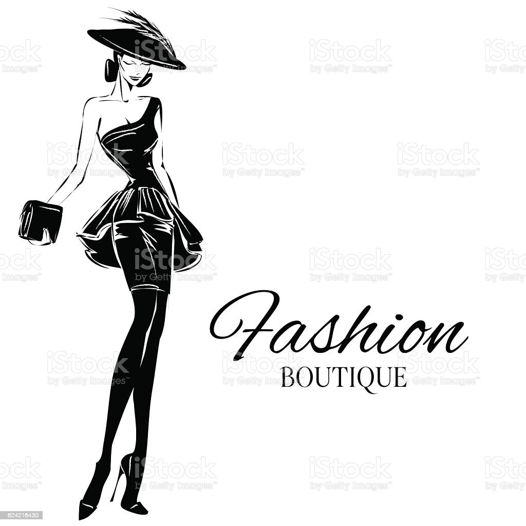 Black and white fashion woman model with boutique logo for Black and white only