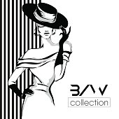 Black and white fashion woman model with boutique logo background. Hand drawn vector illustration