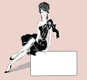 Black and white fashion woman with business card. Vector illustration