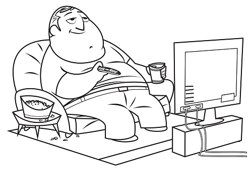 Black and White, Fat man watches TV