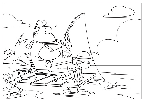 Black And White, Father and son fishing together