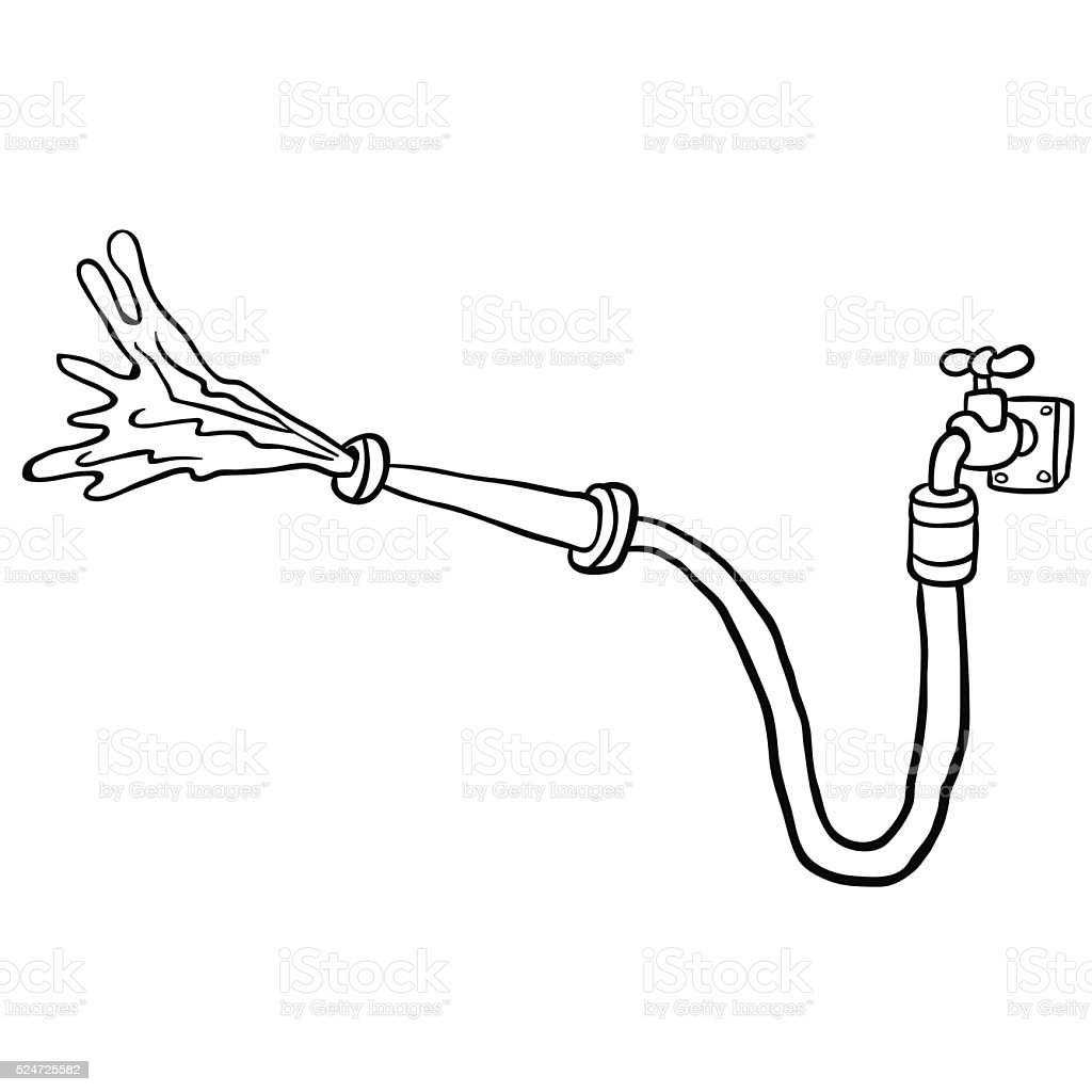 Black And White Faucet With Garden Hose Royalty Free Black And White Faucet  With Garden