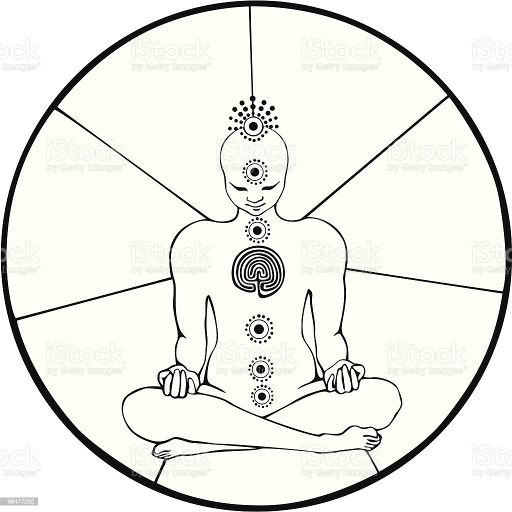 Black and white figure in meditation Lotus pose with chakras royalty-free black and white figure in meditation lotus pose with chakras stock vector art & more images of androgynous