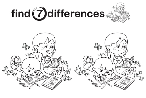 Black And White Find differences, Children working and reading book in the park