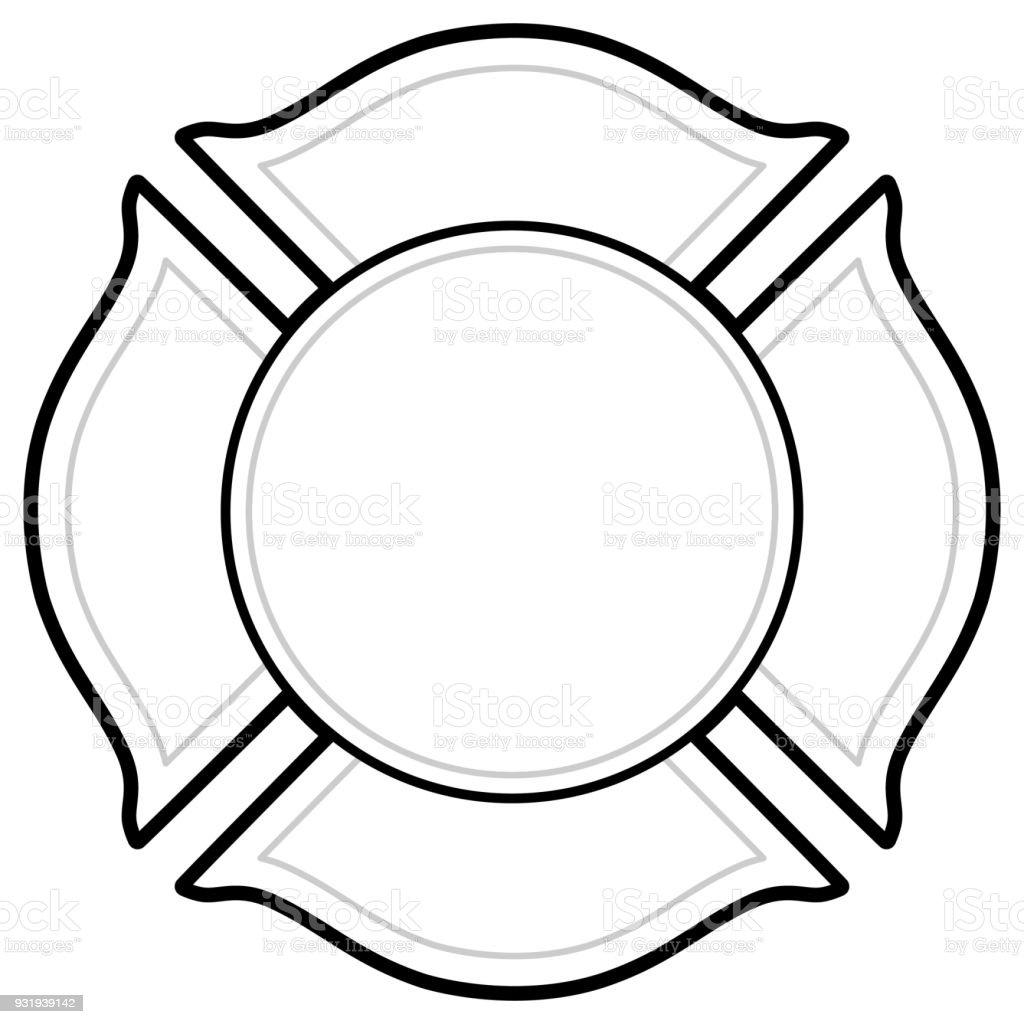 Logotipo de bombeiro de preto e branco - ilustração de arte em vetor