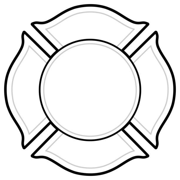 ilustraciones, imágenes clip art, dibujos animados e iconos de stock de insignia de bomberos de blanco y negro - bombero