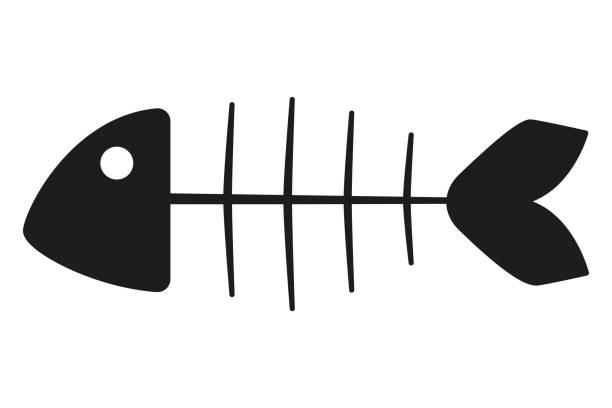ilustraciones, imágenes clip art, dibujos animados e iconos de stock de blanco y negro silueta esqueleto de pescado - leftovers