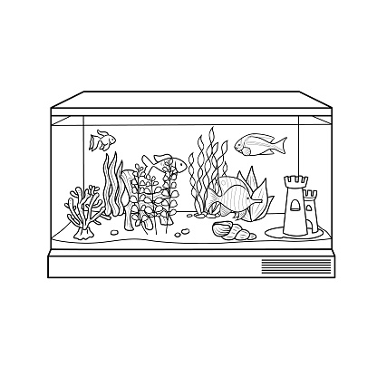 Black and white fish tank or aquarium cartoon images for kids This is a vector illustration for preschool and home training for parents and teachers.