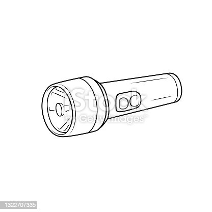 istock Black and white flashlight pictures for coloring cartoons for children. which is a vector illustration for preschool and home training for parents and teachers. 1322707335
