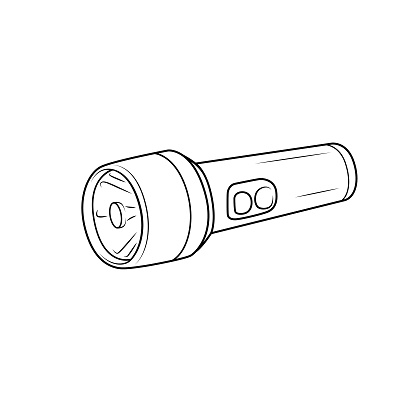 Black and white flashlight pictures for coloring cartoons for children. which is a vector illustration for preschool and home training for parents and teachers.