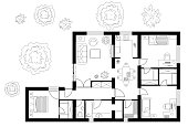 Black and White floor plan of a house.
