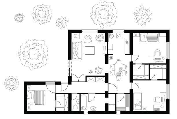 Best Floor Plan Illustrations, Royalty-Free Vector