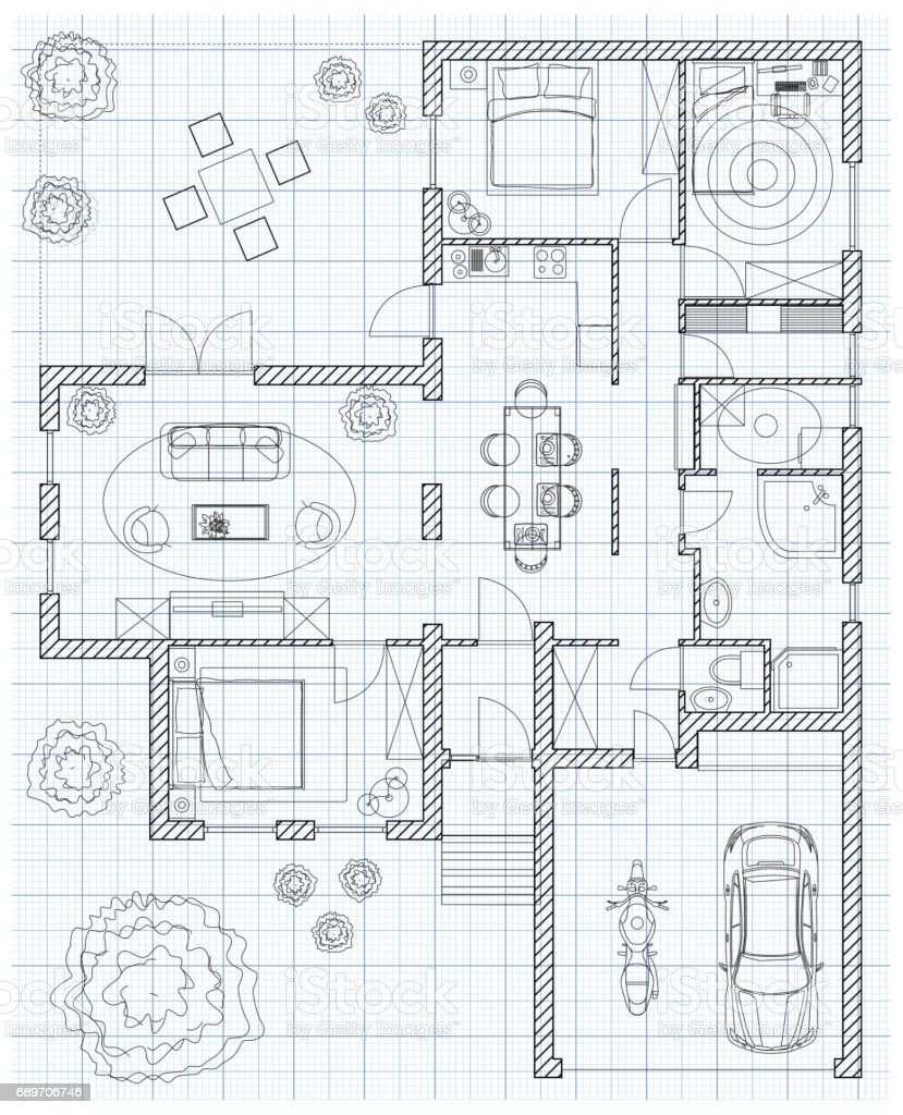 Black And White Floor Plan Sketch Of A House On Millimeter Paper.  Royalty Free