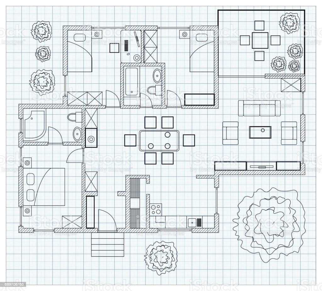 Black And White Floor Plan Sketch Of A House On Millimeter Paper ...