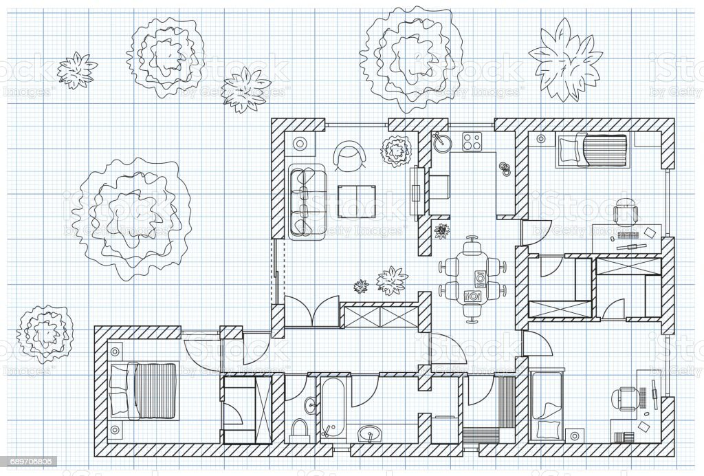 black and white floor plan sketch of a house on millimeter paper
