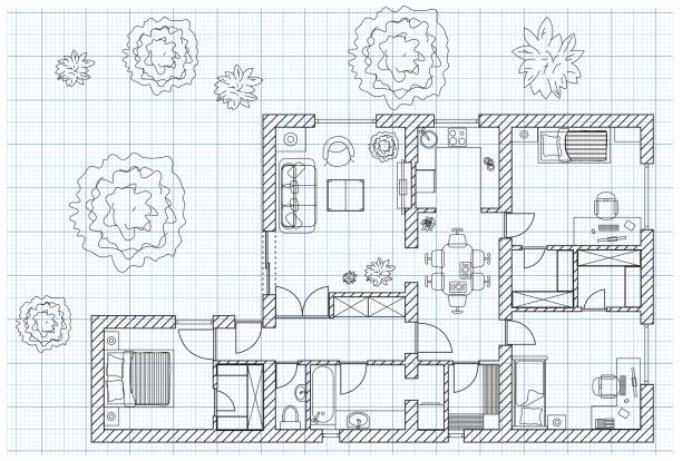 Royalty Free House Floor Plan Clip Art, Vector Images